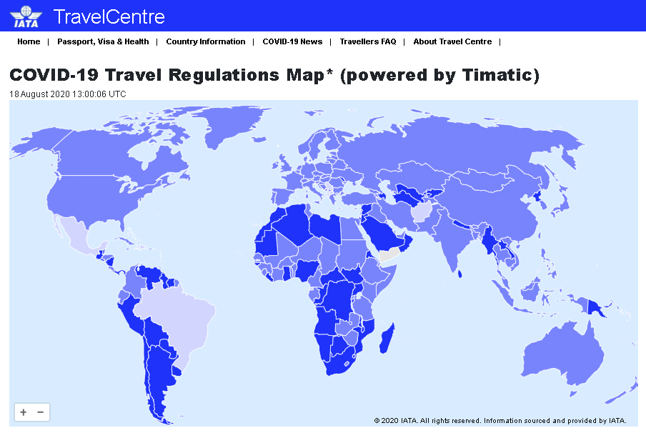 IATA Travel Regulations Map is a reliable source for travel restrictions updates
